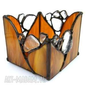 świecznik brązowy z kryształami, witrażowy, nastrojowy