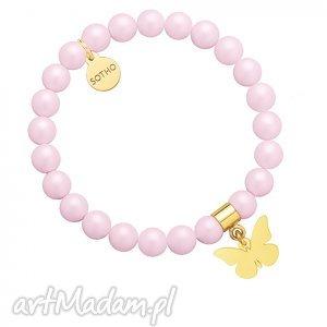 jasnoróżowa bransoletka pereł swarovski® crystal ze złotym