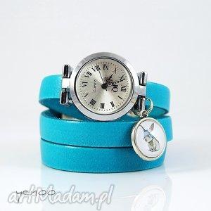 ręcznie robione zegarki zegarek, bransoletka - zając niebieski, skórzany