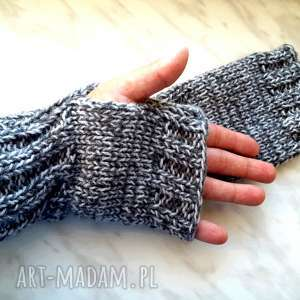 Popielate mitenki - wełniane rękawiczki, akrylowe, popielate, jesienne