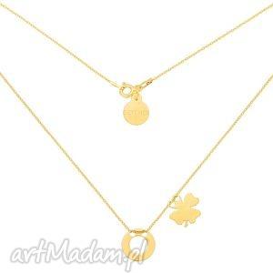 złoty naszyjnik z dwoma zawieszkami karmą i koniczynką, naszyjnik, zawieszki, karma