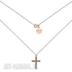 sotho naszyjnik z różowego złota z krzyżem wysadzanym