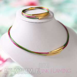 Komplet Pink Flaming, kolorowe, nowoczesne, dźungla, jungle, flaming, złote