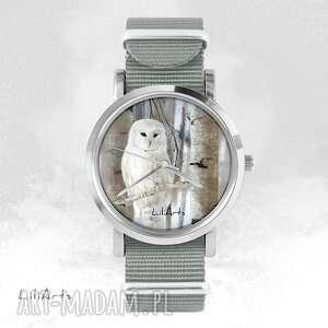 zegarki zegarek, bransoletka - biała sowa szary, nato, bransoletka, nato