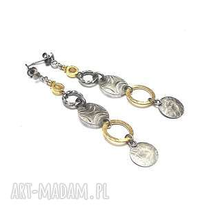 złote promyczki vol 11 - kolczyki, srebro, oksydowane, pozłacane, cytryn