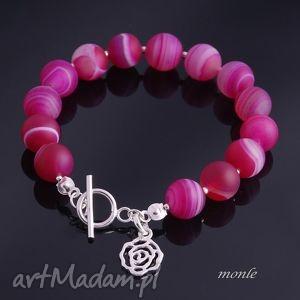 Różowa bransoletka - ,srebro,agat,bransoletka,biżuteria,