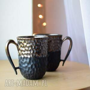kubki dla pary złoto i czerń ceramika 2 x 325ml, pary, dwojga