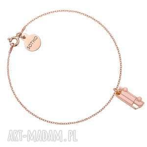 handmade bransoletki bransoletka z różowego złota z kamperem