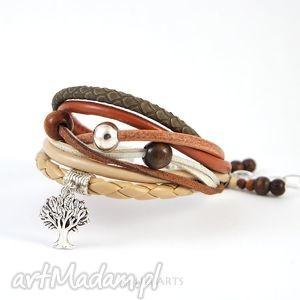 bransoletka - drzewo rzemienie, bransoletka, naturalna, sowa, rzemienie