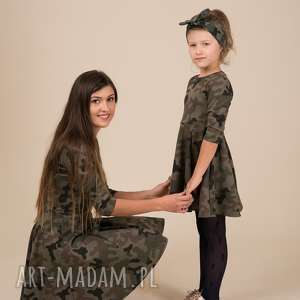 komplet sukienek moro dla mamy i córki, moro, rozkloszowane, komplet, khaki, dzianina