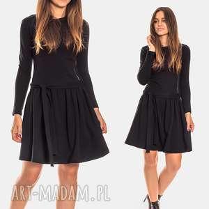 sukienki bien fashion czarna sukienka z długim rękawem i asymetrycznym zamkiem