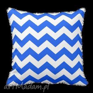 handmade poduszki poduszka zygzak zyg zak chevron niebiesko biały 6065