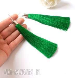 Długie zielone chwosty, kolczyki, długie, boho, sylwester