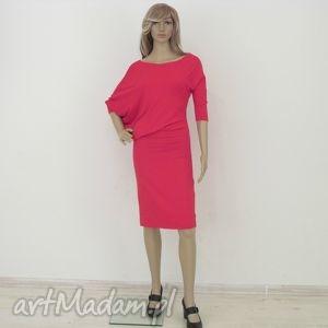 sukienki 18 - sukienka asymetryczna czerwona, sukienka, dzianina, dresowa