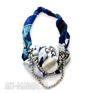 blue moon naszyjnik handmade - naszyjnik, handmade, niebieski, szary, srebrny