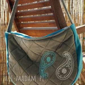 ręcznie robione na ramię pikowana torba z haftem