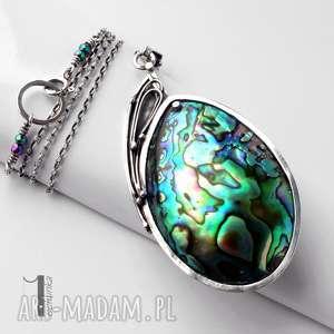 Prezent Mermaid heart srebrny naszyjnik z muszla Paua , metaloplastyka, srebro, paua