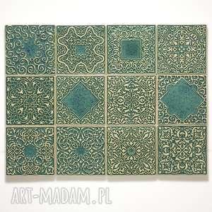 ceramika kafle dwanaście ornamentów zielone, dekory, kafle, płytki, ścienne