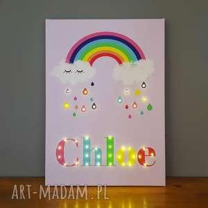 Obraz led z tęczą i imieniem prezent dla dziewczynki na urodziny