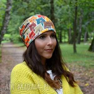 kolorowa czapka w misie, czapka, haribo, prezent, ciepła, beanie