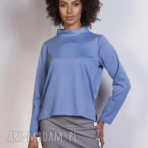 Bluza z dłuższym tyłem, BLU139 niebieski, bluza, bluzka, trapezowa, stójka, casual