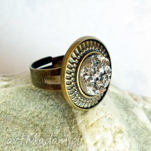 pierścionki pierścionek z oczkiem druzy srebrne, druz, srebrny, brąz, antyczny
