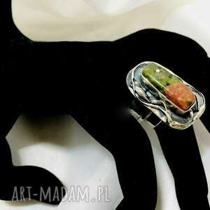 unikatowy srebrny pierścionek unakit zielony jaspis regulowany ozdobna obrączka