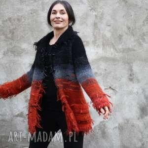 swetry sweter kudłacz pomarańcz czarny, sweter, wełna, unikat, dla niej, prezent
