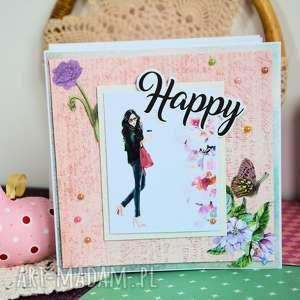 kartka - happy 2 - kartka, szczęśliwa, scrapbooking, kawa, nowoczesna