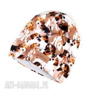 ręcznie robione czapki beagle piesen czapka kolorowa unisex