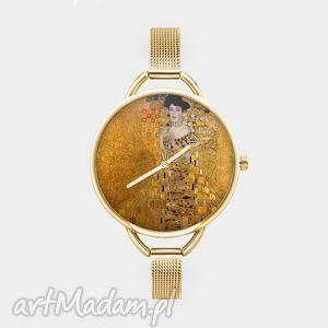 zegarki zegarek z grafiką kobieta w złocie , obraz, sztuka, klimt, reprodukcja