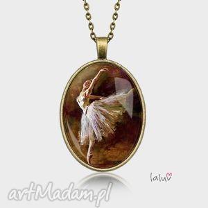 naszyjniki medalion owalny balerina, taniec, kobieta, obraz, sztuka