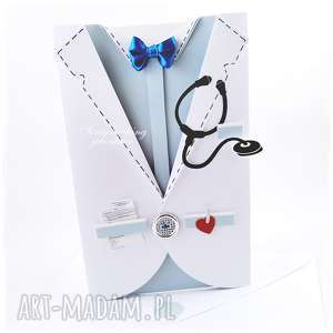 fartuch lekarski - kartka dla niego, lekarz, doktor, stetoskop, recepta, serce