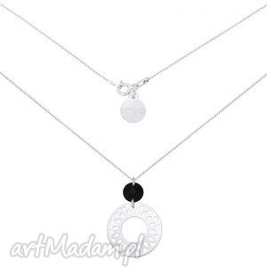 srebrny naszyjnik z dużą arabską rozetą i czarnym swarovski crystal,