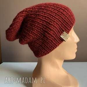 ręcznie robiona czapka hand made ściągacz 100 alpaka bordowy, czapka, czapki