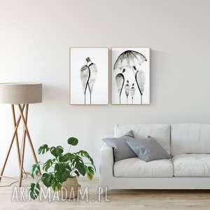 zestaw 2 grafik 40 x 60 cm wykonanych ręcznie, plakat, abstrakcja, elegancki