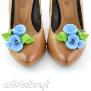 Klipsy do butów - Przypinki butów- Błękit z zielonym, filc, filcowe, przypinki
