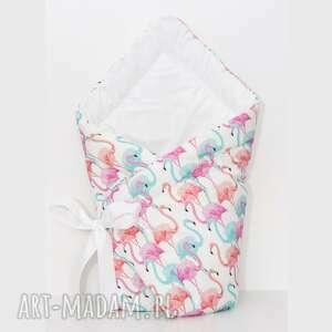 Rożek niemowlęcy PASTELOWE FLAMINGI, rożek-we-flamingi, wzór-we-flamingi