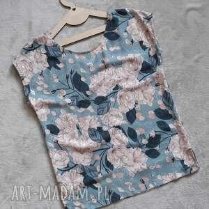 lilla bluzeczka z krótkim rękawem róże, bluzka rękawem