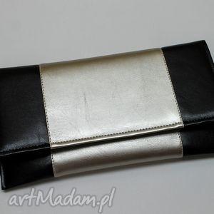 Kopertówka - czarna i środek srebrny torebki niezwykle wizytowa