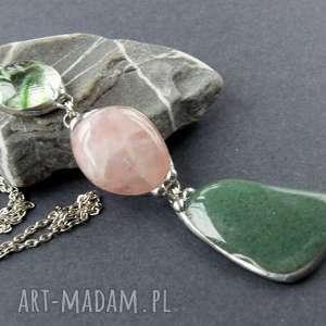 naszyjniki wisior z łańcuszkiem zielon0 - różowy, długi naszyjnik, kamieni