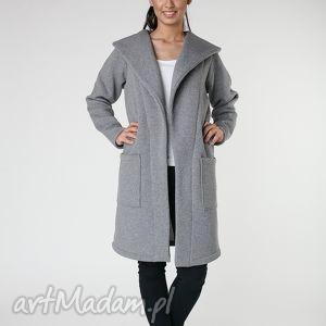 ręcznie wykonane płaszcze płaszcz z ciepłym kołnierzem szarys-m