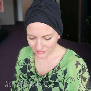 hand-made czapki czapka damska czarny turban