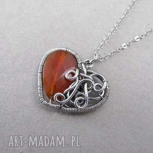 Wisiorek serce z Karneolem, wire wrapping, karneol, wisiorek, serce, wirewrapping