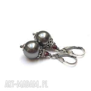 perły steel vol 3 - kolczyki, srebro, oksydowane, perły, swarovski, granat