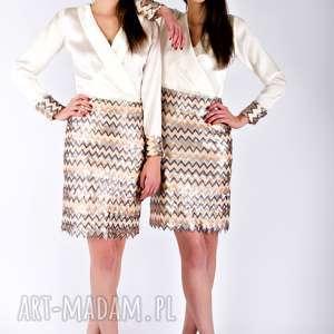 sukienki prizzil - jedwabna sukienka z cekinami, złota
