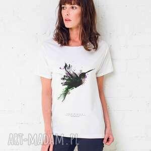hand-made koszulki humingbird painted t-shirt oversize