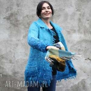 Niebieski kudłacz swetry kozaczka unikat, upominek, wełna