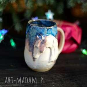 handmade ceramika duży kubek kamionkowy z koniem| beżowo niebieski | 490