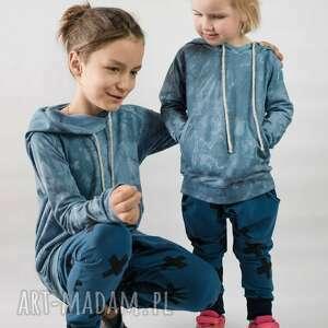 spodnie baggy krzyżyki na niebieskim, spodnie, baggy, dziecięce, print, bawełna